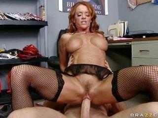 Jordan Ash whips out his meat pole to fuck devilishly vehement Janet Masons cavity