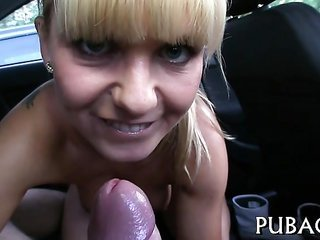 A quickie conjointly drenched oral-job job