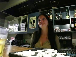 girlie bartender is riding her tight cookie on the heavy weenie of revealing client