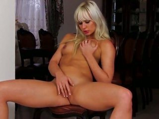 Tracy amazing with shaved slit strips too plays with herself on account of your viewing relish
