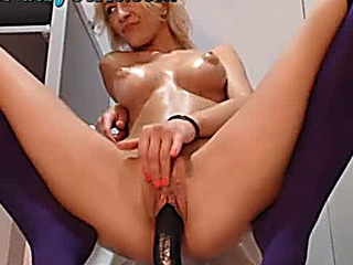 amazing bright-haired web camera lady Rides Her Dildo 1