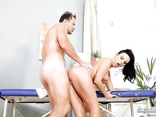 George Uhl stretches charming Tara Tattoos cavity with his well-built prick to the line