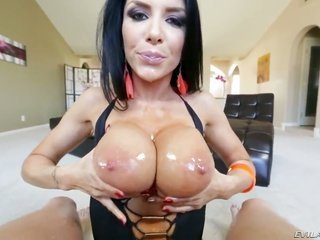 pretty decadent dark-skinned haired bombshell Romi Rain with bigger jaw dropping scones ans in full shaped sylphlike somebody in stripper shoes togeth