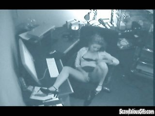 badly behaved Masturbating Secretary Caught On Tape