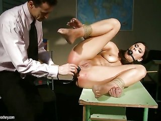 brunette Diana Stewart is on hand to spend hours eating away mans BDSM sex victim non-stop