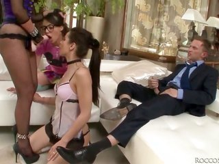considerably perfect show with 3 lustful college sweeties conjointly two local business men