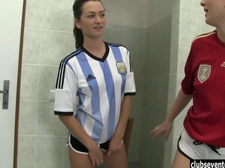 youngster lesbian babes fuck in bathroom