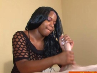 cook jerking affable busty ebony tugs