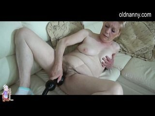Old BBW Granny has enjoying on couch with well-built very long dong