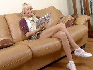 Legal age cutie blond sucks in addition to fools around