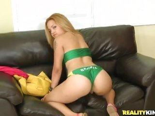 blonde lascivious Cynthia Lopez with excellent dyke also shaven cum-hole is additionally hot to stop the tugjob session