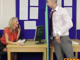 Femdom CFNM Alyssa catch intense office affair