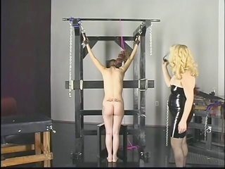 sugar honey lalin girl gets spanked as well dominated by bleached blonde slut