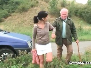 beautiful girl seduces old man on the road