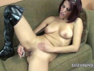 libidinous MILF Lavender Rayne uses a fitments on her pink pussy