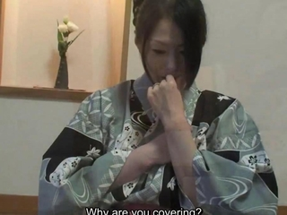 Subtitled uncensored shy chinese milf in yukata in POV